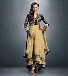 #Blue & #Beige Faux #Georgette Embroidered #Anarkali #Suit by #Craftliva at #Indianroots