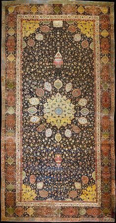 """The Ardabil Carpet"", wool pile on silk foundation, Safavid Iran, dated 946H, 1539-1540, V&A Collection, 530 x 1044 cm"