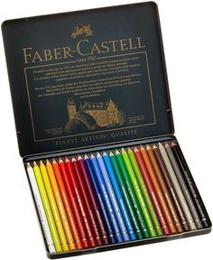 "Faber Castell Polychromos Tin of 24 Color Pencils are perfect for artists on the go. The name \Polychromos"" means many colors. Faber Castell Polychromos 24, Colores Faber Castell, Stationary Store, Artist Pencils, Artist Materials, Cute School Supplies, Colouring Techniques, Art Graphique, Color Pencil Art"