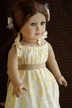 """American Girl 18"""" Doll Dress Flowery Yellow Peasant Style Sundress with Flower Hair clip"""