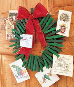 Clothes Pin Wreath Greeting Card Holder but we get so many cards I think I will make a clothespin christmas tree! Christmas Card Display, Diy Christmas Cards, Noel Christmas, Homemade Christmas, Christmas Card Holders, All Things Christmas, Winter Christmas, Christmas Wreaths, Christmas Crafts