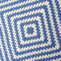Blue and White Granny Square Blanket Baby Boy