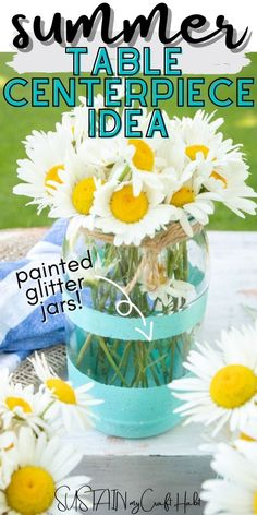 Turning some inexpensive empty glass jars into colorful glitter painted vases for your Summer tablescape and beyond. #sustainmycrafthabit
