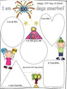 math worksheet : write 100 words on the 100th day of school  kinderland  : 100th Day Of School Worksheets For Kindergarten