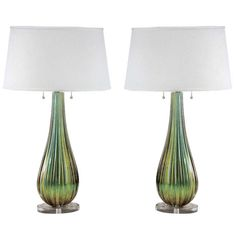 Pair of Green and Gold Murano Glass Table Lamps Attr Barovier | From a unique collection of antique and modern table lamps at https://www.1stdibs.com/furniture/lighting/table-lamps/