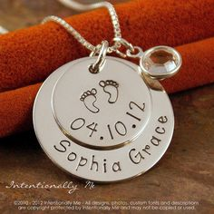 Personalized Necklace - Hand Stamped Mommy Necklace- Sterling Silver Jewelry - My Baby Info Necklace (name and date). $52.00, via Etsy.