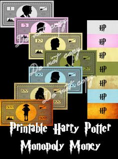 Harry Potter Monopoly Money | Printable | Instant Digital Download