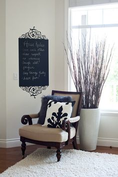 Chalk Wall Decal. Like the set-up also. Oh, and how my cat would love the sticks!!!