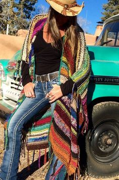 "LONG Handknit Womens Bohemian Festival Hippie Beach Poncho Cape Shawl (""For Cowgirl Colgrove"")"