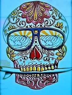 Awesome surfing sugar skull.