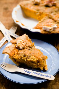 Tzimmes Pie features Sweet Potato and Apple Filling with a Raisin Crumb Topping