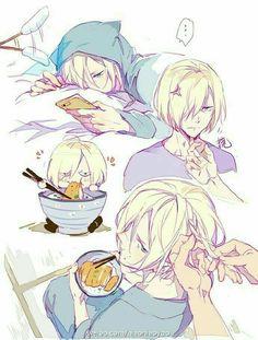 "Yuri ""Yurio"" Plisetsky, text, cute, chibi, funny, eating, pork cutlet bowl, Katsudon, cellphone, neko, cat, ears, jacket, braiding, hair, chopsticks; Yuri!!! on Ice"