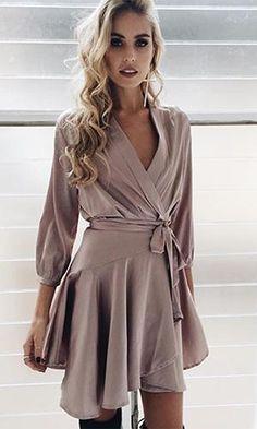 First Date Light Purple Lavender 3/4 Sleeve Cross Wrap V Neck Ruffle Satin Mini Dress