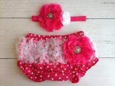 Hot Pink Bloomer and Headband Set by SomethingBleuShop on Etsy, $20.00
