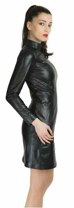 Long sleeve black leather dress