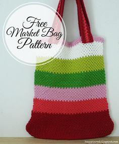 Happy in Red: Free crochet pattern: market bag in linen stitch