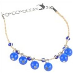 Fashion Wrist Bracelet Slim Straw Chain Bangle with Beads Pendant Valentine Gift - Assorted Color