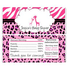 Pink Giraffe Baby Shower Candy Bar Wrappers Label Stickers - Zebra Leopard Jungle Safari Girl Party Decorations Baby Shower Items Printable