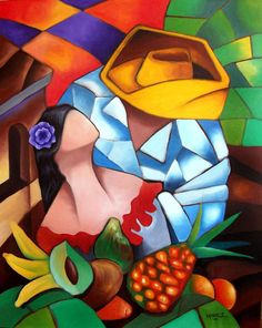 Happy Couple ~ by Miguez Cuban Art Mexican Paintings, Colorful Paintings, Arte Filipino, Cubist Art, Haitian Art, Caribbean Art, Naive Art, Mexican Art, Oeuvre D'art