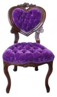 Chair •~• purple tufted velvet heart-shaped