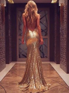 Gold Backless Evening