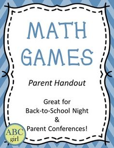 This packet includes instructions for 6 math games that parents can play at…