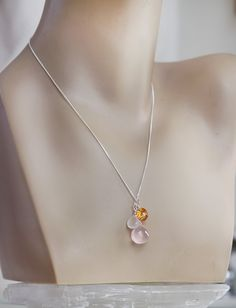 Pink Orange White Gemstone Sterling Silver Charm Necklace - Mandarine