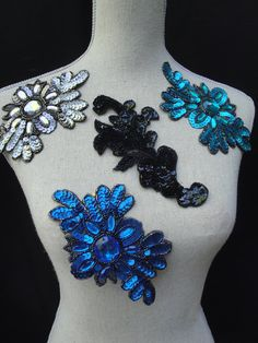 Teal Turquouse Royal Blue Gray Grey  Sequined Flower Beaded Applique for Wedding Bridal Hair Accessory Millinery Glue On Sew On S121