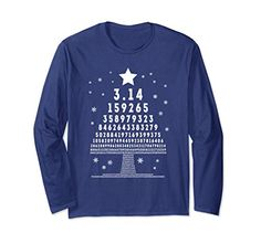 Unisex Pi Tree Ugly Christmas Funny Math Teacher Long Sleeve T-Shirts Gifts