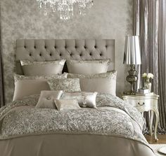 Buy your Kylie Minogue Alexa Silver Bed Linen Range online now at House of Fraser. Why not Buy and Collect in-store? Dream Bedroom, Home Bedroom, Master Bedrooms, Master Suite, Kylie Minogue At Home, Silver Bedding, Silver Bedroom Decor, Luxury Bedding Sets, Bed Sets