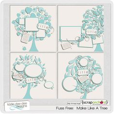 LOVE these trees!!!  Digital Scrapbook Template - Make Like A Tree | FiddleDeeDee