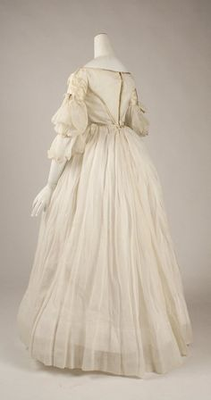 Evening dress Date: ca. 1840 Culture: American Medium: cotton, silk Dimensions: Length at CF (a): 13 in. cm) Length (b): 40 in. cm) Credit Line: Gifts from Various Donors Fund, dress Vintage Dresses, Vintage Outfits, Vintage Fashion, 1800s Fashion, Women's Fashion, Corsage, Period Outfit, Costume Institute, Historical Clothing