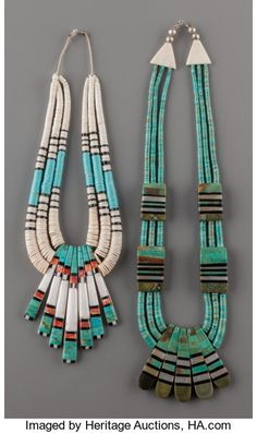 American Indian Art:Jewelry and Silverwork, TWO SANTO DOMINGO STONE AND SHELL NECKLACES.