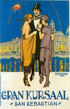 By Rafael de Penagos, 1 9 2 2, Poster advertising the Gran Kursaal (Casino). (Spain)