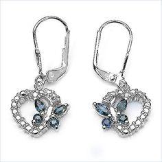 Exquisite 0,78 Carat blaue Saphir, Topas Schmetterling, Herz Ohrhänger, Ohrschmu