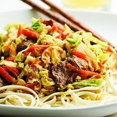 Beef & Cabbage Stir-Fry with Peanut Sauce - EatingWell.com  (((substitute the beef with mushrooms or shrimp/chicken)))