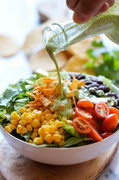 Southwestern+Chopped+Salad+with+Cilantro+Lime+Dressing+-+A+tex-mex+style+salad+with+an+incredibly+creamy+Greek+yogurt+cilantro+dressing!