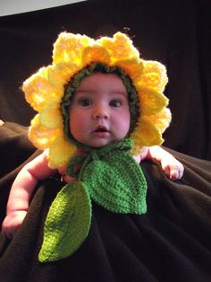 This sunflower hat is hand-made form wool and acrylic yarn and fits 3 to 12 months baby. This Sunflower Hat is exclusively patented by RimaDesig...
