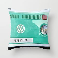 Adventure wolkswagen. Summer dreams. Green Throw Pillow by Guido Montañés. Worldwide shipping available at Society6.com. Just one of millions of high quality products available.