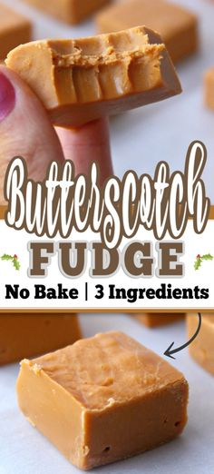 This Easy BUTTERSCOTCH FUDGE is made with 3 Simple Ingredients. Plus this is a no-bake fudge recipe which is even better. Effortless and delicious! Perfect for a treat or your holiday baking tray or a baking exchange! Baked Fudge Recipe, Fudge Recipes, Candy Recipes, Sweet Recipes, Dessert Recipes, Recipe For Butterscotch Fudge, Caramel Fudge Recipe Condensed Milk, Simple Fudge Recipe, Easy No Bake Recipes