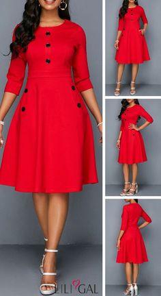 Fashion dresses - 26 Red Pocket Button Embellished A Line Dress liligal dresses Latest African Fashion Dresses, African Print Dresses, African Dresses For Women, Women's Fashion Dresses, Dress Outfits, Fashion Clothes, Elegant Dresses, Cute Dresses, Casual Dresses