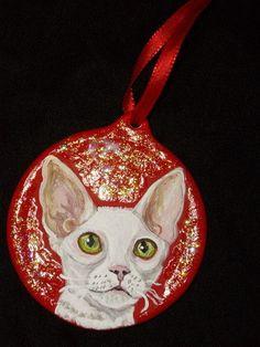 Cornish Rex Cat Custom Painted Christmas by daniellesoriginals, $18.95