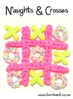 Naughts & Crosses Loom Band Game Tutorial, instructions and videos on hundreds of loom band designs. Shop online for all your looming supplies, delivery anywhere in SA. Rainbow Loom Tutorials, Rainbow Loom Patterns, Rainbow Loom Creations, Rainbow Loom Bands, Rainbow Loom Charms, Rainbow Loom Bracelets, Loom Bands Designs, Loom Band Patterns, Loom Love
