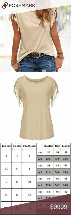 ☆GORGEOUS TAN FRINGED SLEEVE T-SHIRT TOP M-XL☆ ♡These are super cute and so great with jeans/leggings etc. Run a tad small, will add measurements but size chart is available.  Also have in GORGEOUS coral and plus sizes, coming soon too! SONFLOWER BOUTIQUE Tops