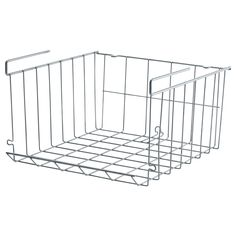 Clip-on (under the shelf) wire basket. You can hang more than one from a shelf vertically or stack them on a flat surface! ($4 each IKEA)