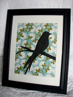 bird art  i like it.  different prints or fabrics behind...
