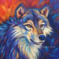 """Wolf Gaze"" by Theresa Paden Acrylic paint on canvas ~ 12"" x 12"""