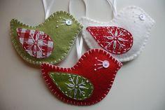 felt ornaments | Christmas Felt Bird Ornaments | Holidays