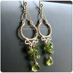 Layla- Peridot Green Tourmaline and Gold Filled Chandelier Earrings by LoellaMedina on Etsy https://www.etsy.com/listing/150737203/layla-peridot-green-tourmaline-and-gold