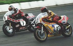 1980 and Barry Sheene races Steve Henshaw at Mallory Park I think , riding the awesome TZ750 a fantastic racing machine.